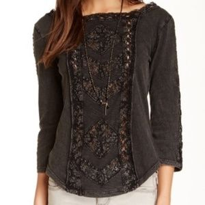 Free People crochet lace top, size large